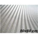 Carbonová folie 3D 50x60 cm stříbrná