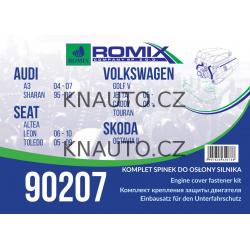 sada sponek krytu pod motor AUDI A3, Seat Altea Leon Toledo, Skoda Octavia II, VW Caddy Golf IV Caddy Touran