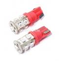 Žárovka 9 SUPER LED 12V T10 červená 2ks